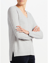 John Lewis V Neck Tunic Jumper, Grey Donegal
