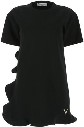 Valentino VGold Ruffle Trim T-Shirt Dress