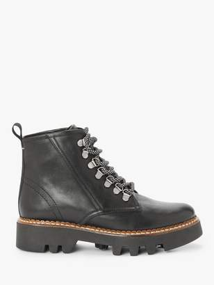 KIN Pinner Leather Lace Up Chunky Boots, Black
