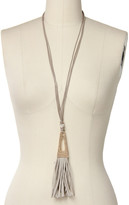 Saachi Taupe Suede Triangle Tassel Necklace