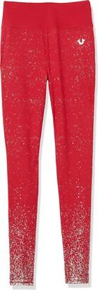 True Religion Women's Tall Size Ombre Glitter Mid Rise Skinny Legging
