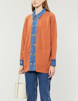 Sandro Tera denim-trim stretch-knit cardigan