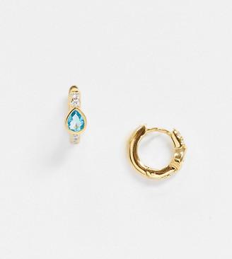 Orelia huggie hoop earrings with teardrop gem drop in gold plate