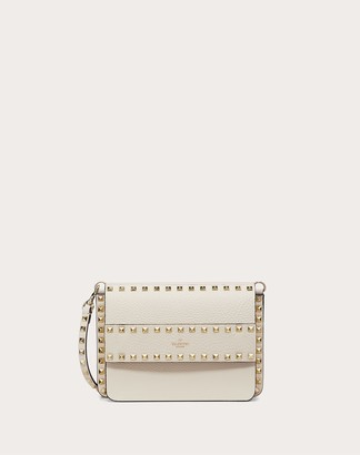 Valentino Small Rockstud Grainy Leather Crossbody Bag Women Light Ivory 100% Pelle Di Vitello - Bos Taurus OneSize