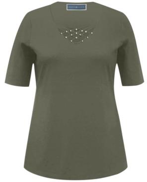 Karen Scott Studded V-Neck Top, Created for Macy's