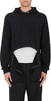 Givenchy Men's Zip-Bottom Fleece Hoodie-BLACK