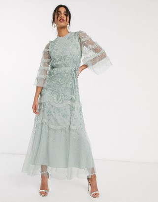 Needle & Thread embroidered tiered maxi dress with ruffle sleeves in mint