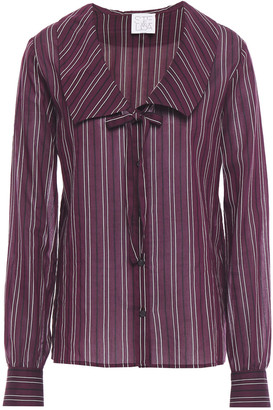 Stella Jean Bow-detailed Striped Cotton And Silk-blend Voile Shirt