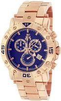 Jivago Titan Mens Blue Dial Rose-Tone Stainless Steel Bracelet Watch