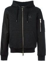 DSQUARED2 bomber sleeve hoodie - men - Acrylic/Polyamide/Polyester/Virgin Wool - XL