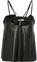Carven Ruffled Leather Camisole - Black