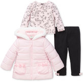 Little Me 3-Pc. Hooded Puffer Jacket, Top and Leggings Set, Baby Girls (0-24 months)