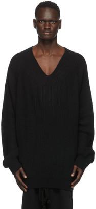 Julius Black Rib Knit V-Neck Sweater
