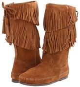 Minnetonka Calf Hi 2-Layer Fringe Boot Women's Zip Boots