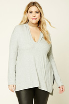 Forever 21 FOREVER 21+ Plus Size Ribbed Hooded Top