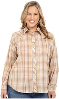 Roper Plus Size Earth Tone Plaid with Embroidery