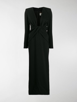Saint Laurent Plunging Evening Dress