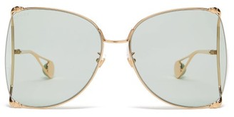 Gucci Oversized Butterfly Metal Sunglasses - Womens - Green Gold