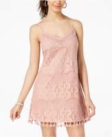 Speechless Juniors' Lace Pompom Slip Dress