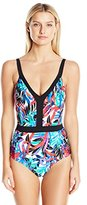 Jantzen Women's Slim Tropic Nights V Neck One Piece Swimsuit