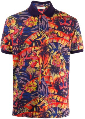 Etro tropical-print polo shirt