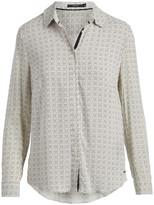 Tahari Women's Blouses TICK - Beige Tick Tack Long-Sleeve Button-Up - Women