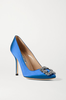 Manolo Blahnik Hangisi Embellished Satin Pumps - Royal blue
