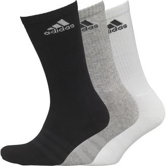 adidas 3 Stripe Performance Cushioned Three Pack Crew Socks Black/Medium Grey Heather/White