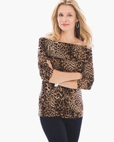 Chico's Dashing Cheetah Off-the-Shoulder Top