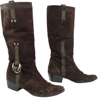 Fendi Cowboy Brown Suede Boots