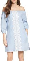 Eliza J Lace Trim Seersucker Off the Shoulder Dress (Regular & Petite)