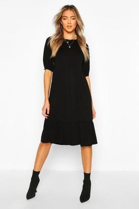 boohoo Elasticated Sleeve Drop Hem Midi Dress