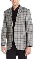 Perry Ellis Men's Slim Fit Plaid Cotton Sport Coat, Grey