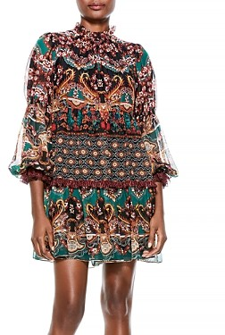 Alice + Olivia Marella Printed Mock Neck Dress