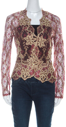 Valentino Boutique Vintage Red and Gold Lace Shrug M