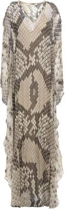 Roberto Cavalli Cold-shoulder Embellished Snake-print Silk-chiffon Kaftan