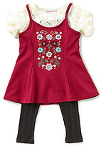 Flapdoodles Little Girls 2T-6X Floral 2-Fer Dress & Solid Leggings Set