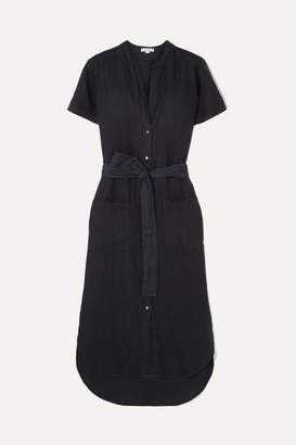 James Perse Belted Linen Midi Dress - Navy