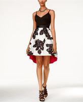 Teeze Me Juniors' Sleeveless Floral-Print High-Low Dress