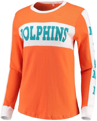 Junk Food Clothing Unbranded Women's Orange Miami Dolphins Color Block Racer Long Sleeve T-Shirt