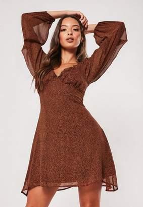Missguided Brown Animal Print Milkmaid Skater Dress