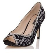 Dorothy Perkins Womens *Quiz Black And White Lace Court Shoes- Black