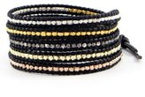 Chan Luu Multi Nugget Sectioned 5-Wrap Black Leather Bracelet