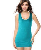 Moxeay Women Scoop Neck Cotton Extra Long Tank Top Vest (XL, )