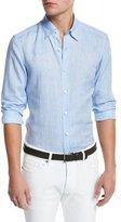 Ermenegildo Zegna Linen Woven Sport Shirt, Soft Blue