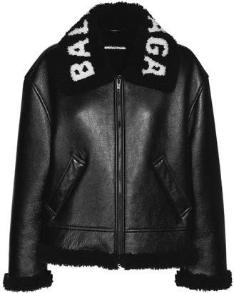Balenciaga Logo Shiny Leather & Shearling Jacket