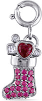 Ice Sofia B 7/9 CT TW Lab-Created Ruby and Sapphire Silver Christmas Stocking Charm
