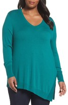Sejour Plus Size Women's V-Neck Asymmetrical Tunic