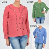 La Cera Women's Embroidered Fleece Jacket