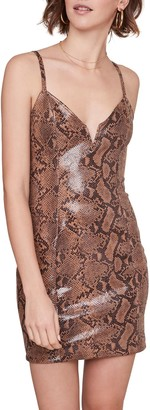 ASTR the Label Come Slither Snake Print Faux Leather Mini Dress